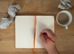 hand write open notebook mockup